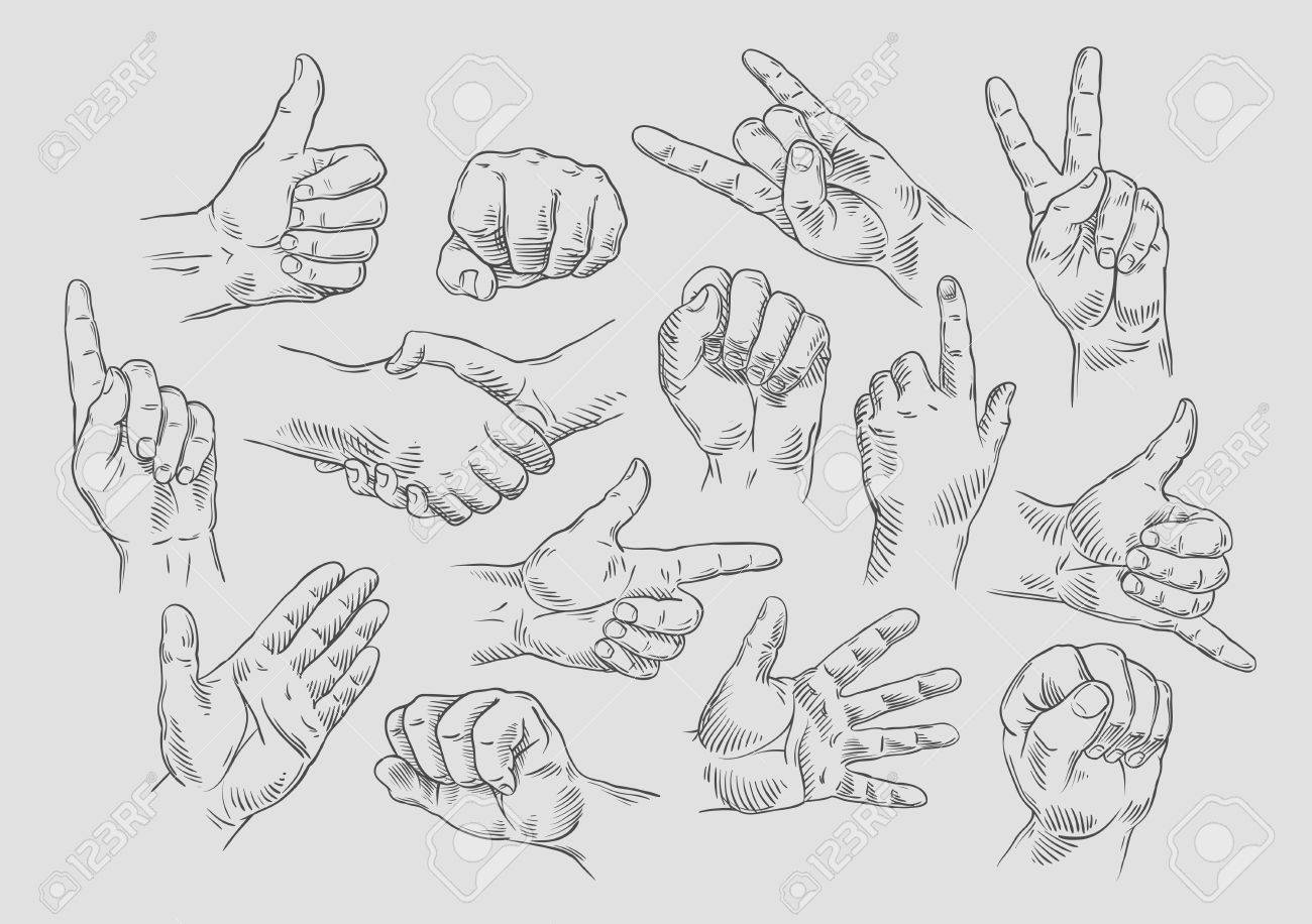 hands icons set on gray background. vector illustration - 53583848