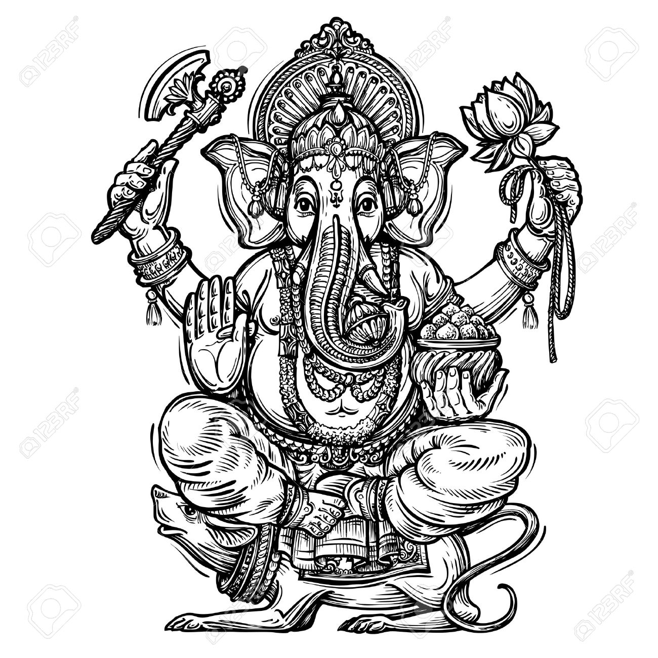 Hand drawn sketch vector illustration ganesh chaturthi stock vector 55349014