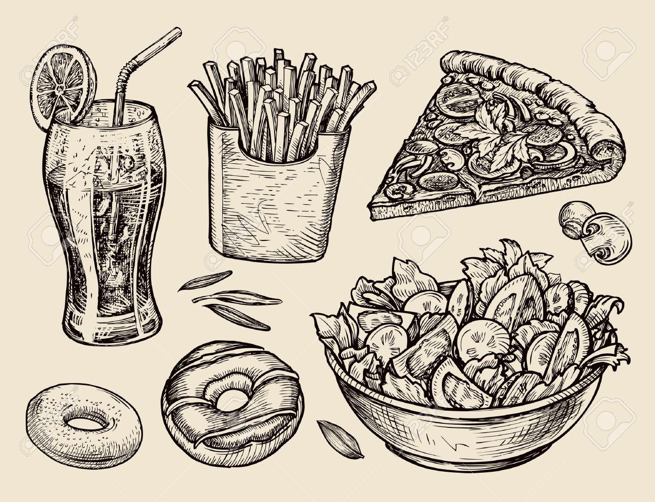 food. sketch soda, fries, pizza, salad. vector illustration - 55349057