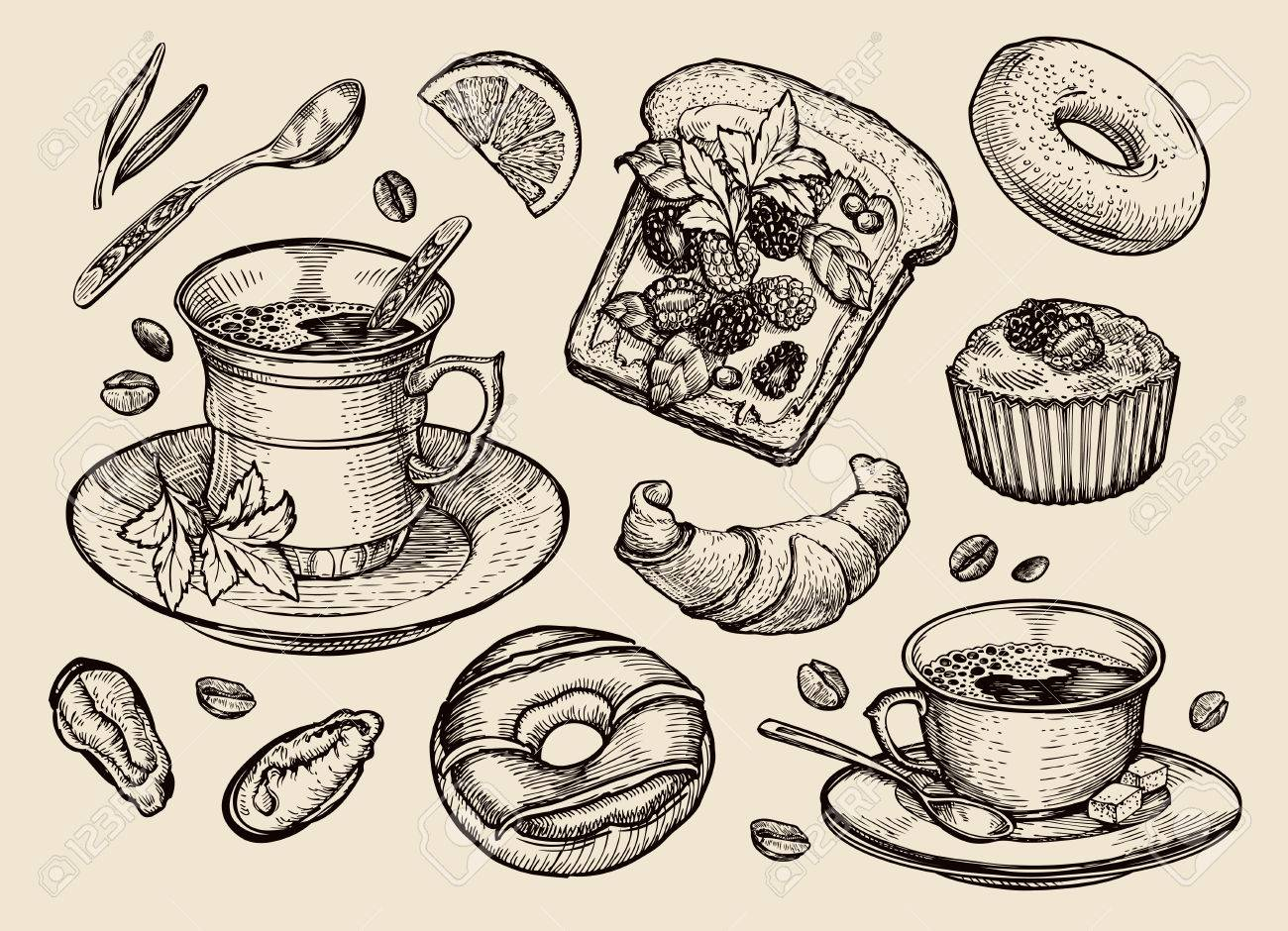 food vector sketch sandwich dessert coffee cup tea royalty free cliparts vectors and stock illustration image 55349061 food vector sketch sandwich dessert coffee cup tea