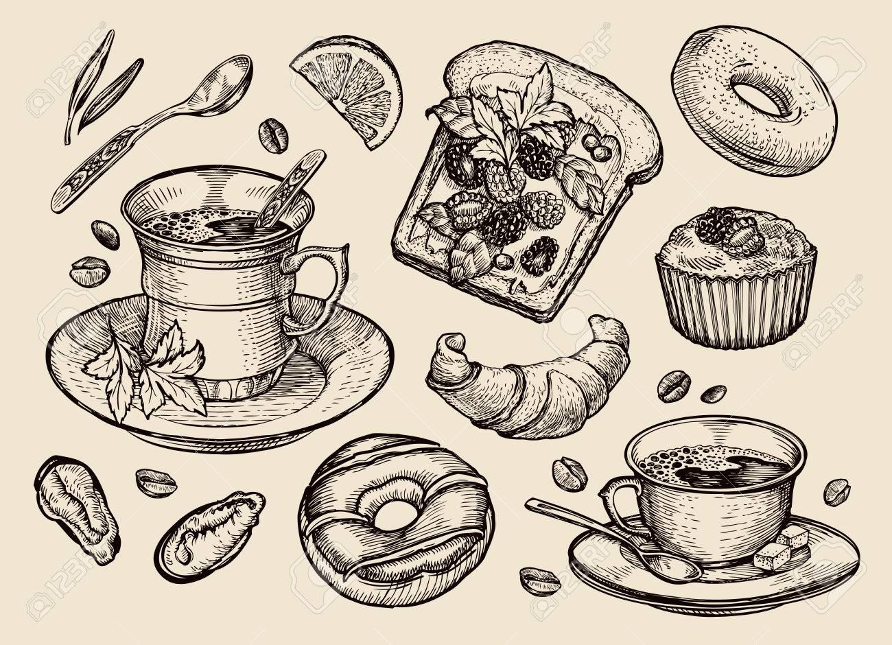 food vector sketch sandwich dessert coffee cup tea royalty free cliparts vectors and stock illustration image 55349061 food vector sketch sandwich dessert coffee cup tea