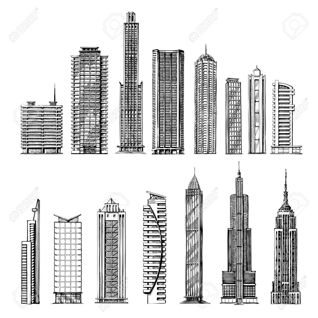 city hand drawn sketch skyscrapers vector illustration royalty rh 123rf com isometric skyscraper vector skyscraper vector free