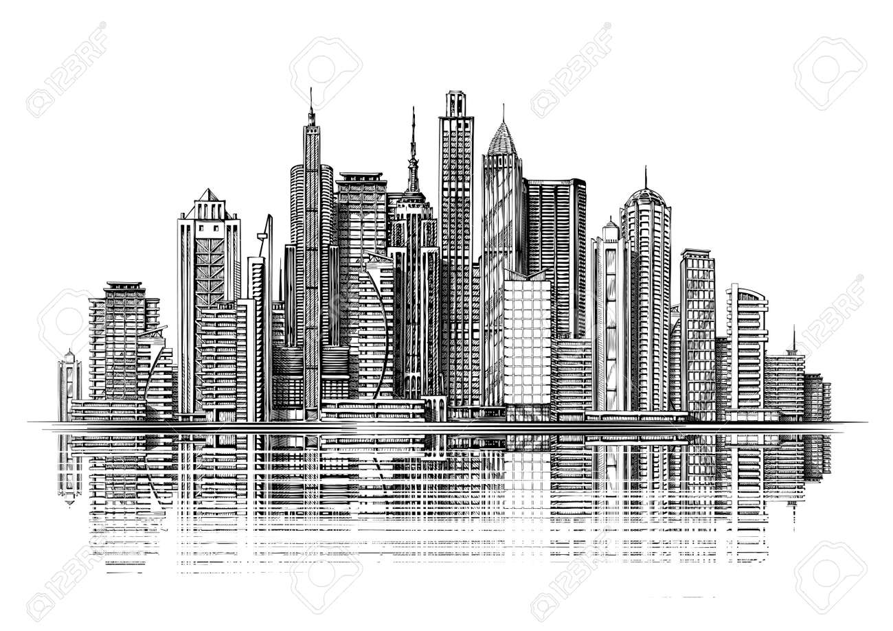 Big City Architecture Skyscrapers Sketch Stock Vector