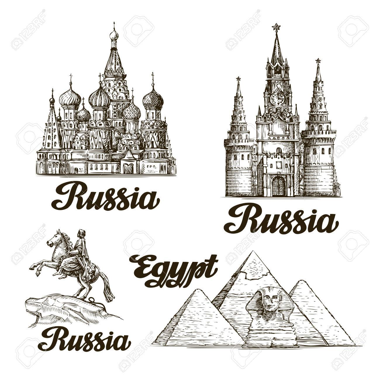 Travel. Hand drawn sketch Russia, Egypt. Vector illustration - 57686059