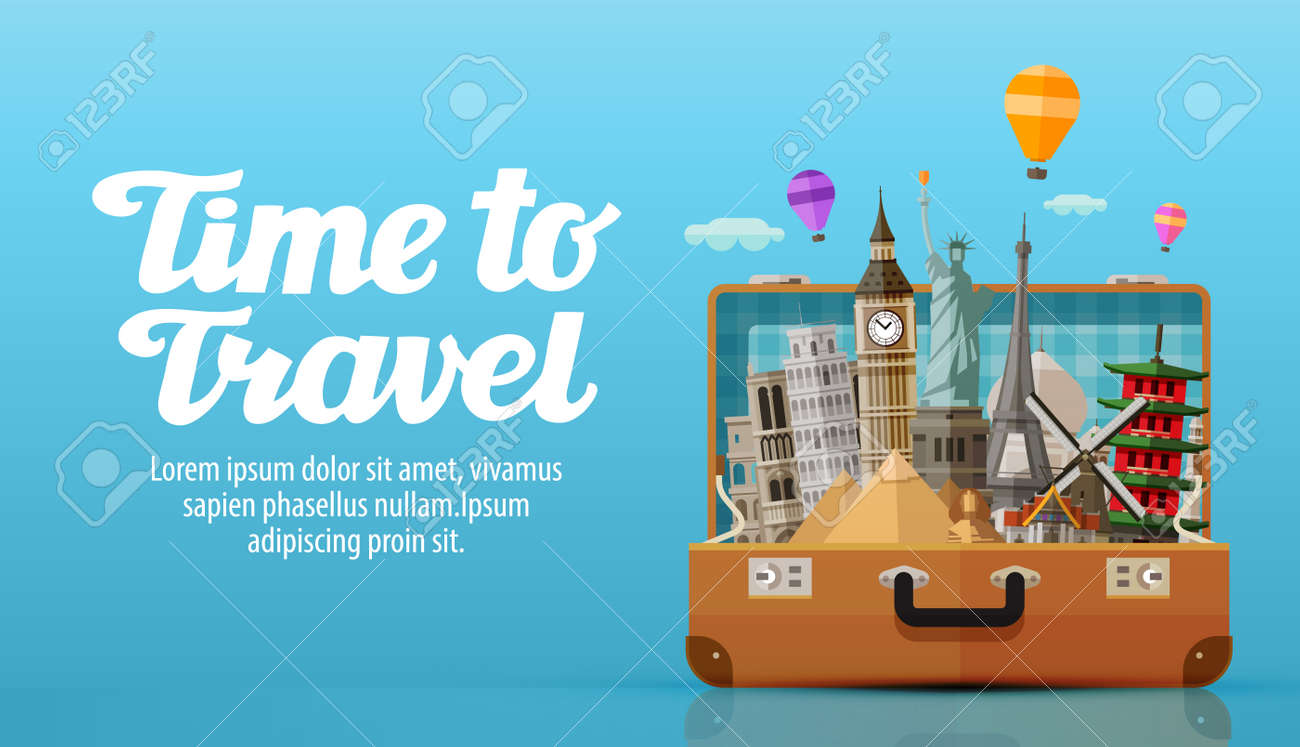travel to world open suitcase with landmarks vector illustration