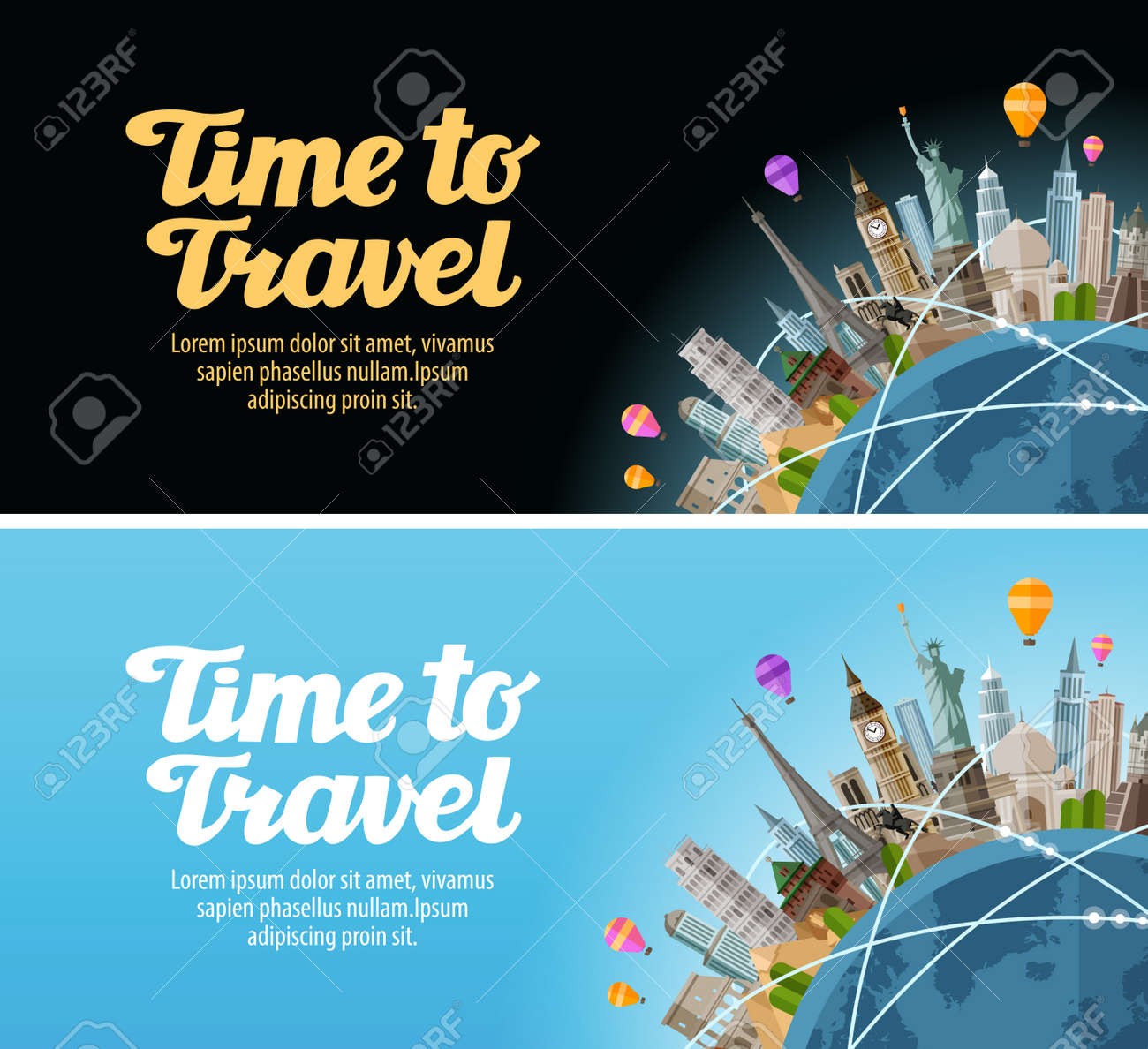 Travel to world. Landmarks on the globe. Journey or vacation - 57686078