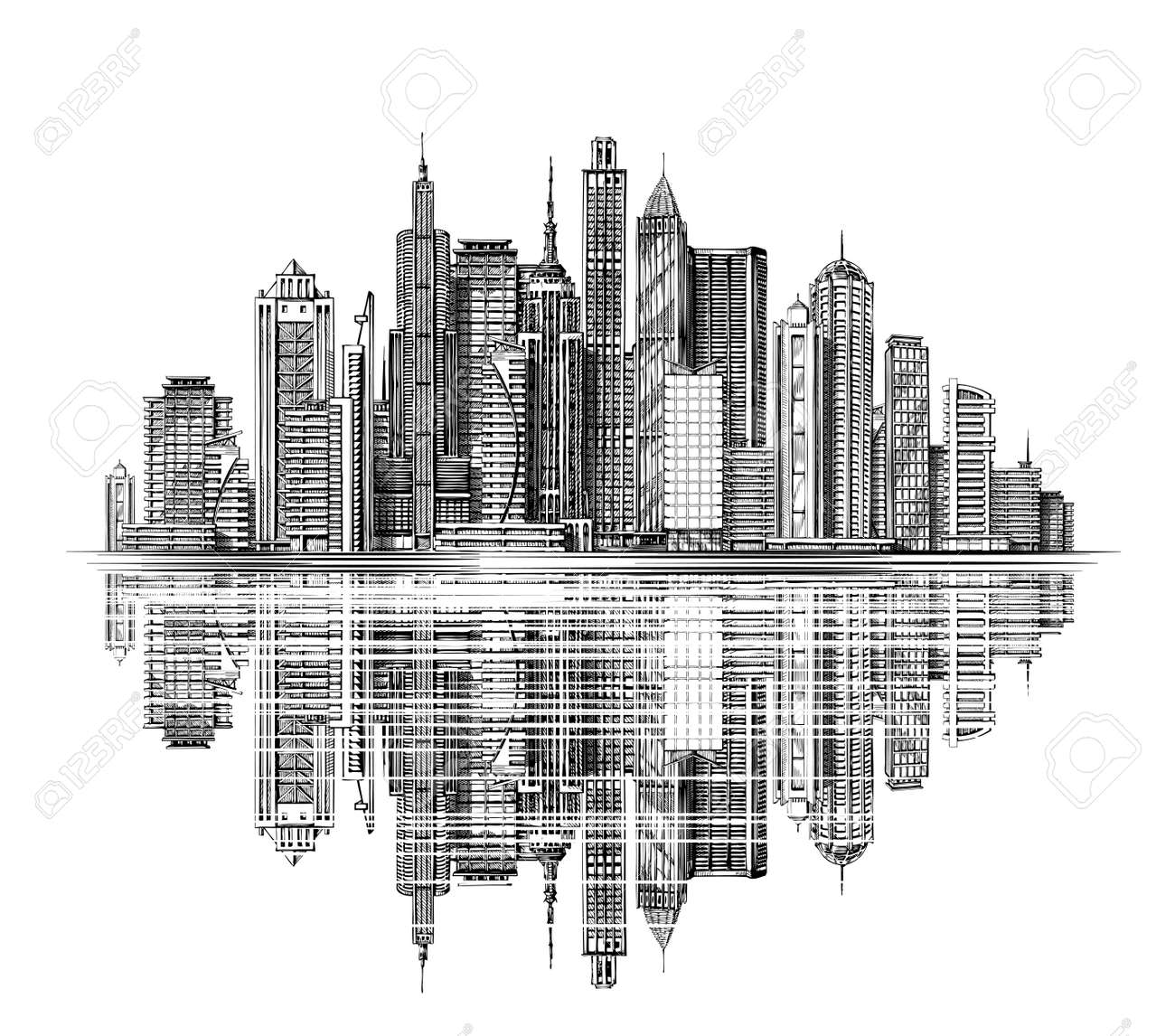 Modern City Skyline Silhouette Architecture And Buildings Hand Drawn Sketch Urban Landscape Stock Vector