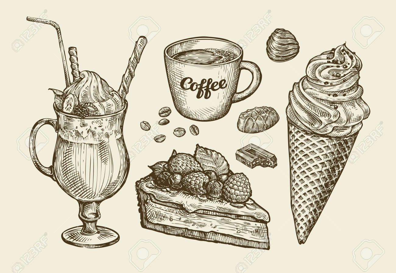 Food, dessert, drink. Hand-drawn ice cream, sundae, cup of coffee, tea, cake, pie chocolate candy cocktail smoothie milkshake Sketch vector illustration - 60719094