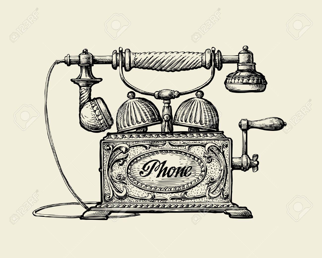 amazing stunning telefono vintage telfono de la vendimia dibujado a mano telfono retro dibujos ilustracin with dibujos uas - Dibujos Uas