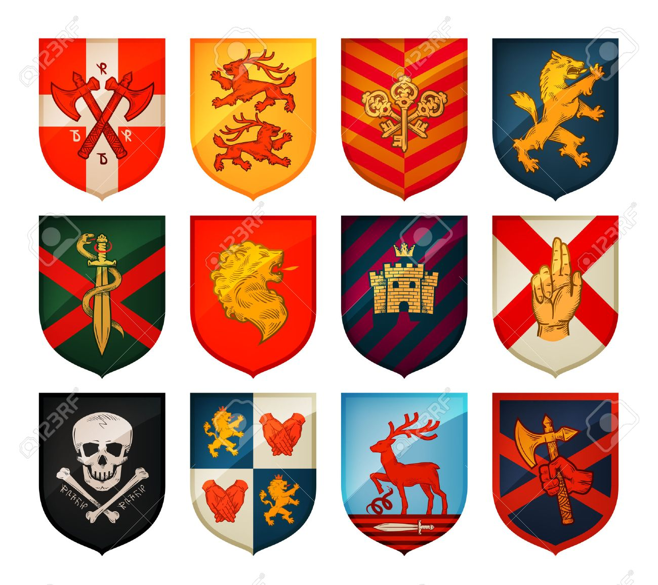 Collection of medieval shields and coat of arms. Kingdom, empire, castle vector symbol - 61268073