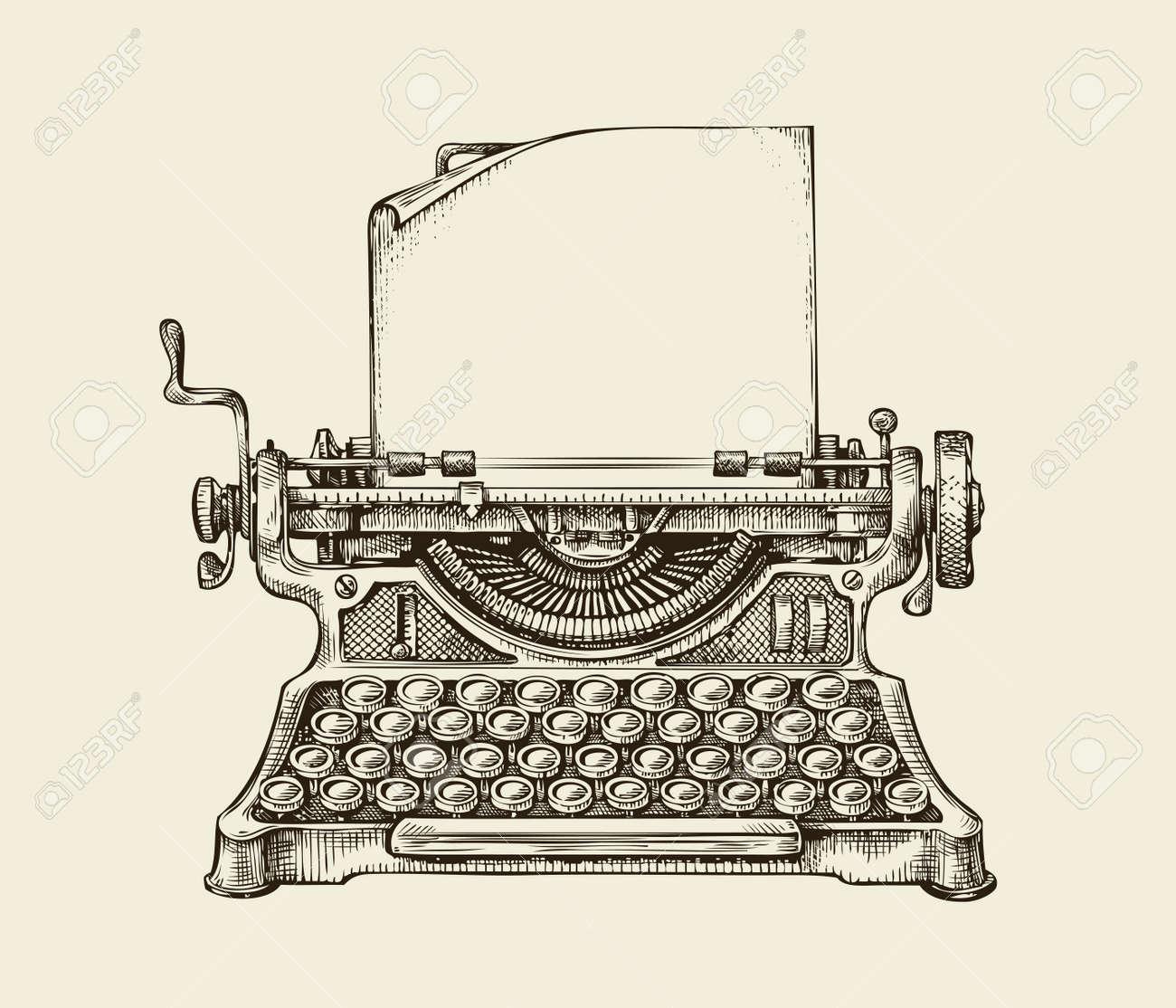 Hand-drawn vintage typewriter. Sketch publishing. Vector illustration - 61268296