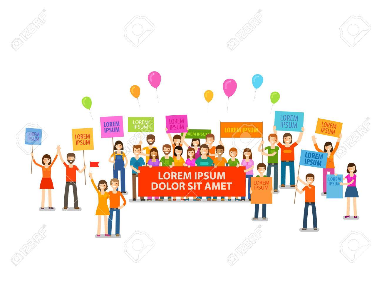Holiday, demonstration, rally. Crowd of people with placards Vector illustration - 61268298