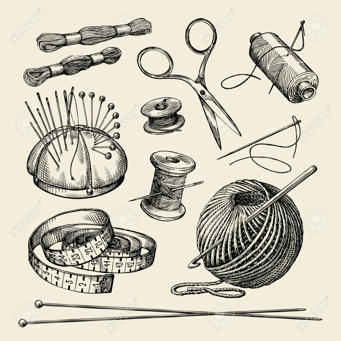 Sewing notions. Hand-drawn thread, needle, scissors, yarn, knitting needles crochet Vector illustration - 61268323