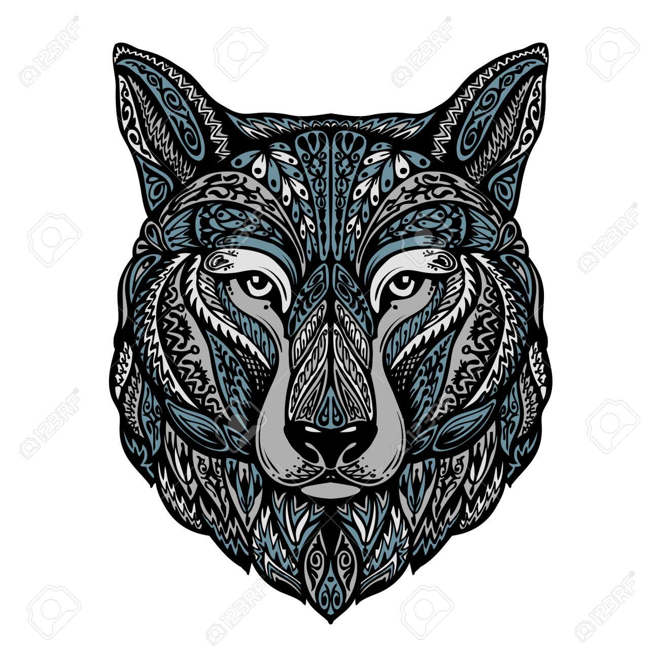 Ethnic ornamented wolf, dog, werewolf Vector illustration - 62977578