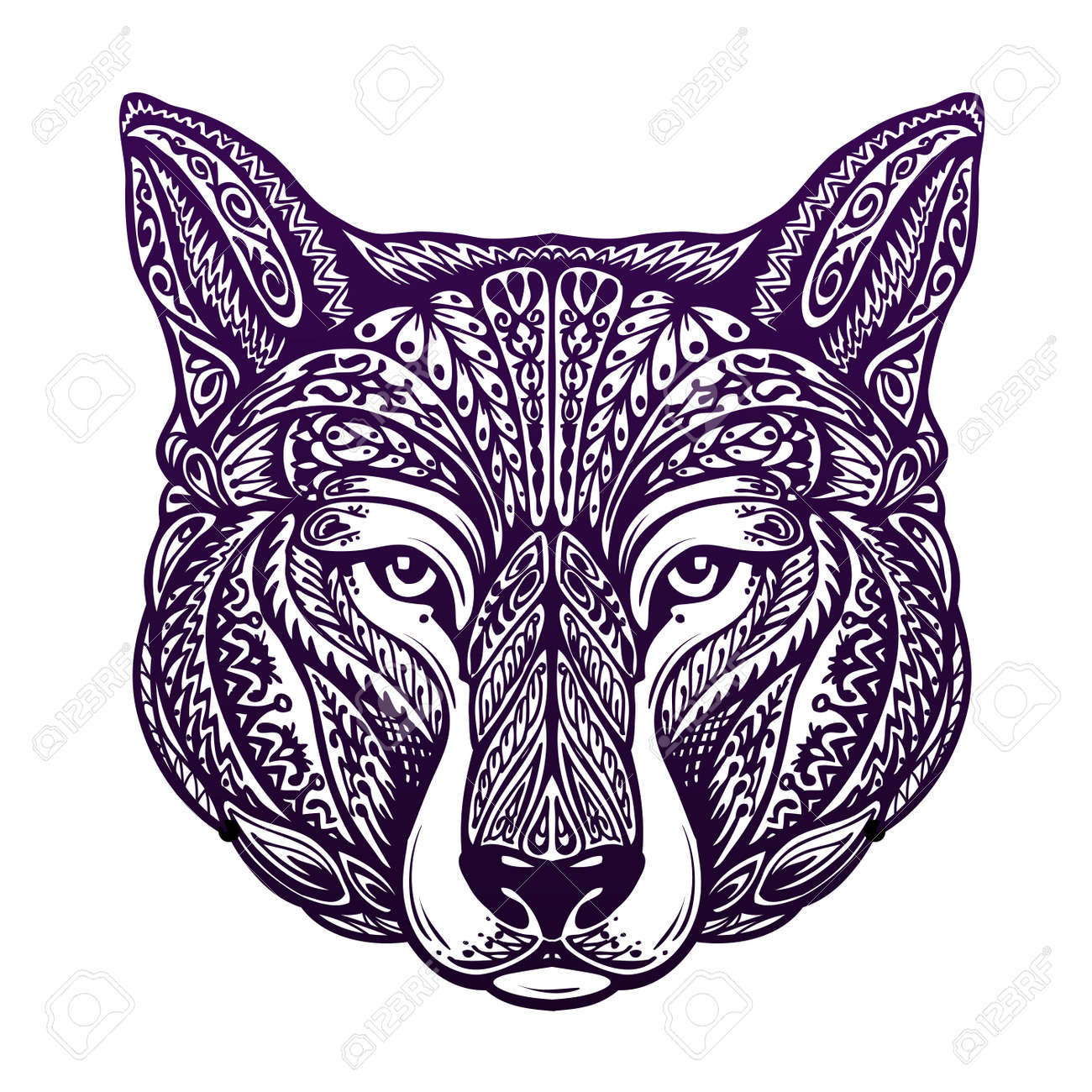 Dog, wolf painted tribal ethnic ornament. Vector illustration - 62204613