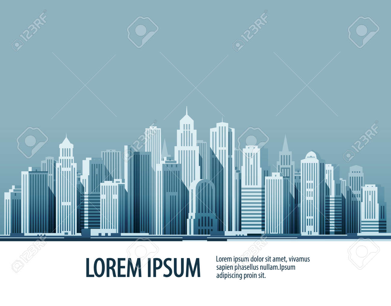 Big city. Architectural building in panoramic view. Vector illustration - 62204615