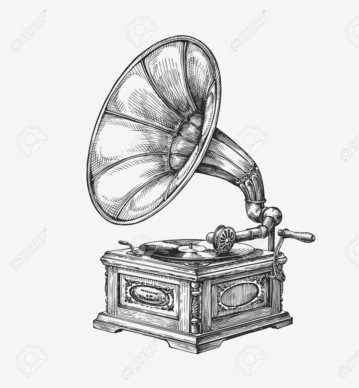Hand drawn vintage gramophone. Sketch music. Vector illustration - 62204625