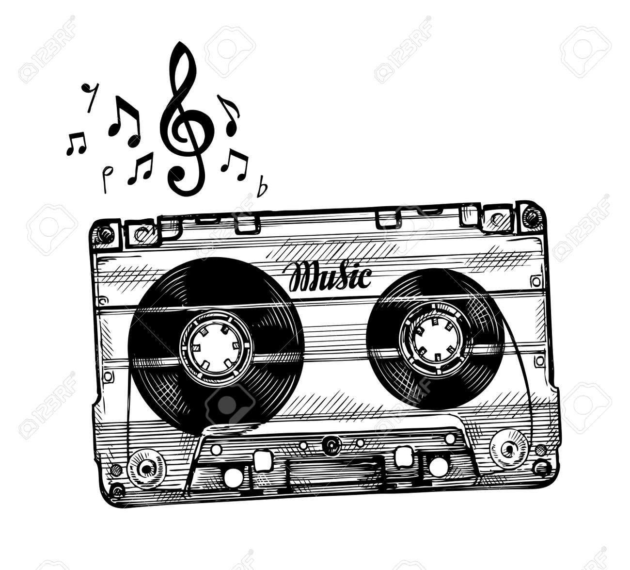 Dibujado A Mano De Casete De Música. Cinta De Audio Boceto ...