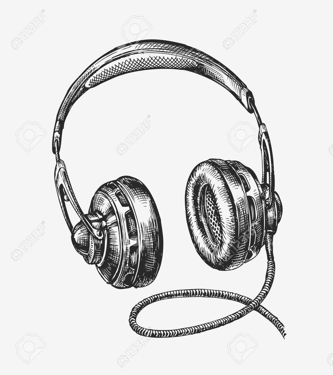 Hand drawn vintage headphones. Sketch music. Vector illustration - 62204635