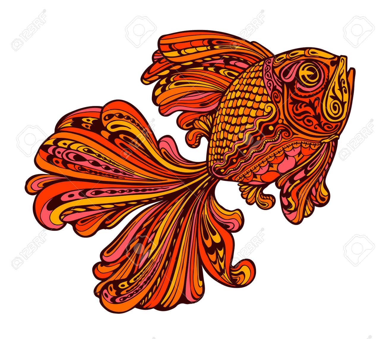 Ethnic Ornamented Golden Fish. Seafood. Vector Illustration Royalty ...