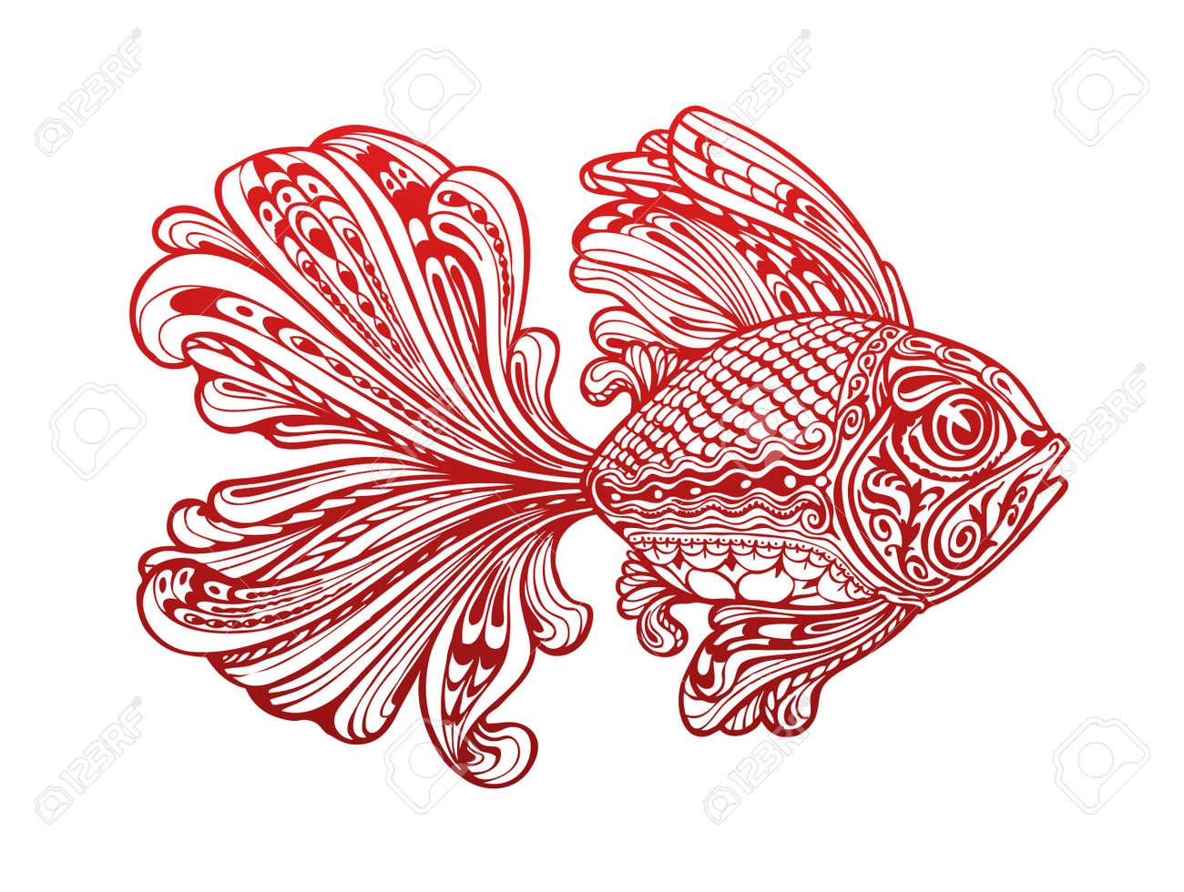 Fish Painted Tribal Ethnic Ornament. Tattoo. Vector Illustration ...
