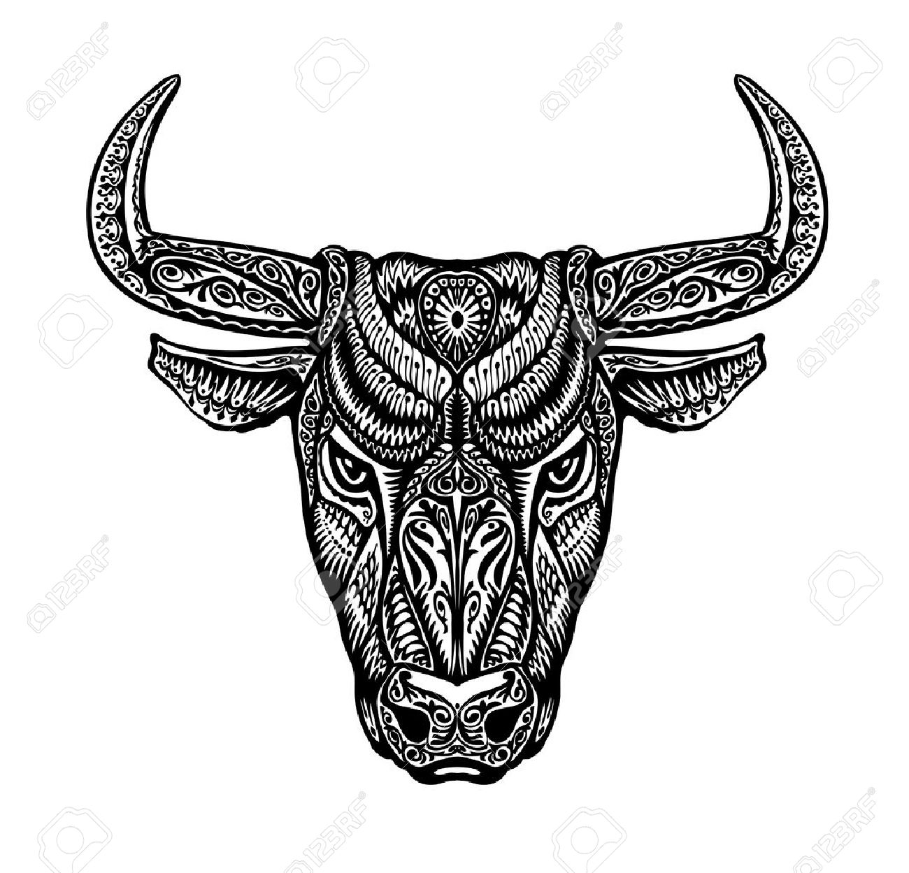 Bull Taurus Painted Tribal Ethnic Ornament Vector Illustration Stock