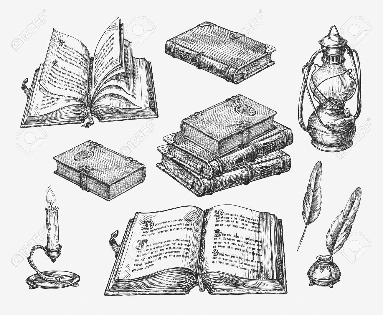 Hand drawn vintage books. Sketch old school literature. Vector illustration - 62204970