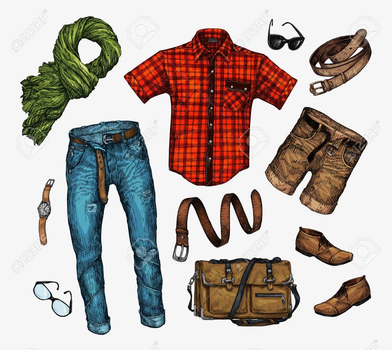 f4ca951bf Conjunto de hombres de ropa de moda. Traje del pañuelo para el cuello del  hombre, camisa, bolso, pantalones vaqueros, pantalones, shorts, zapatos de  ...