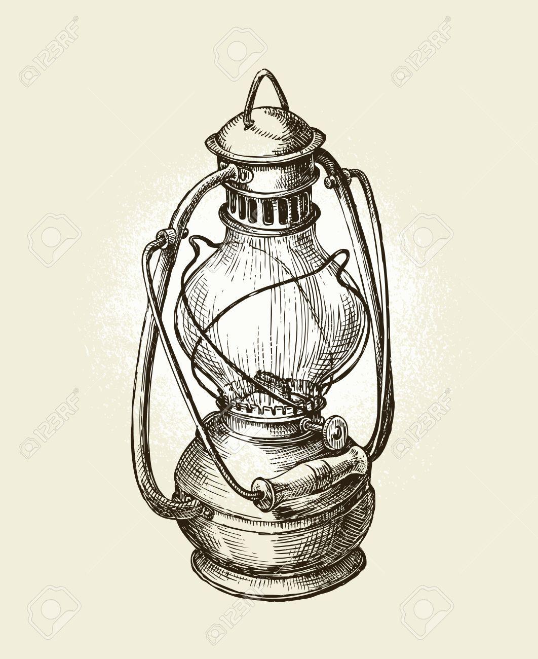 Hand Drawn Vintage Kerosene Lamp. Sketch Oil Lamp. Vector ... for Oil Lamp Drawing  45jwn