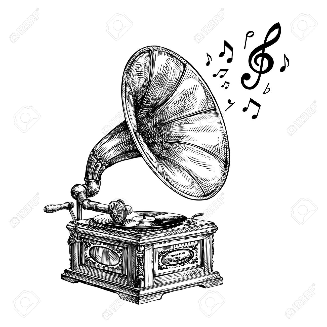 hand drawn vintage gramophone with music notes vector illustration royalty free cliparts vectors and stock illustration image 62204953 hand drawn vintage gramophone with music notes vector illustration