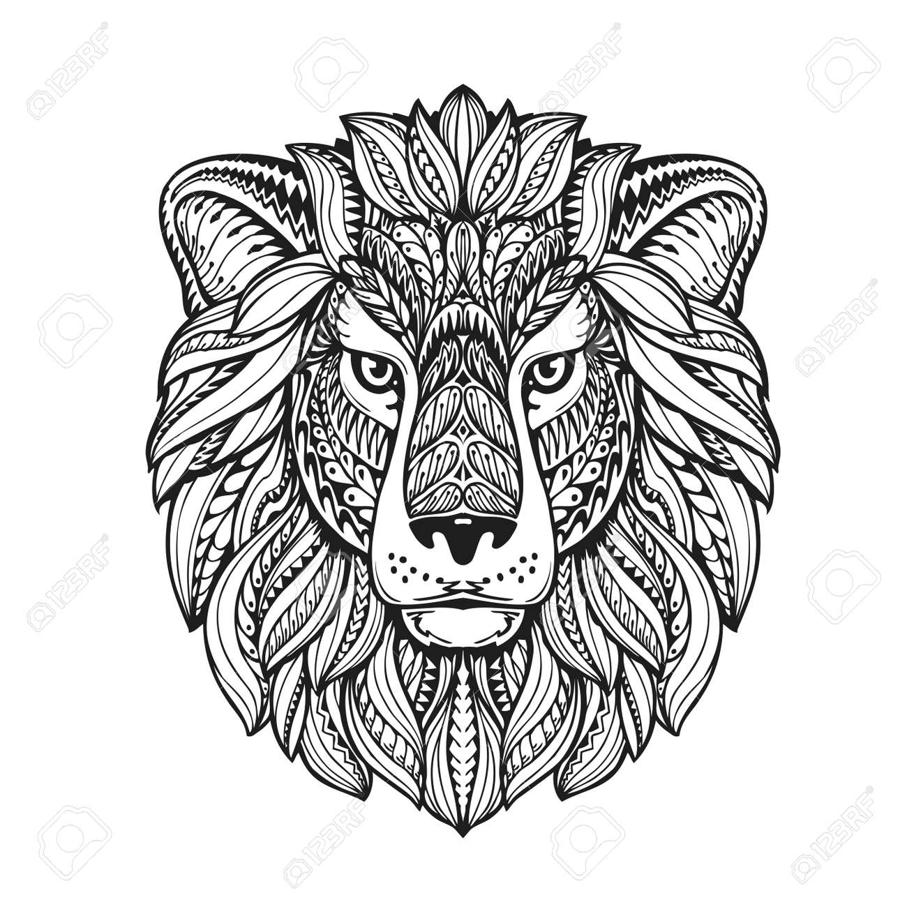 beautiful lion ethnic graphic style with herbal ornaments and patterned mane. vector illustration - 62978089