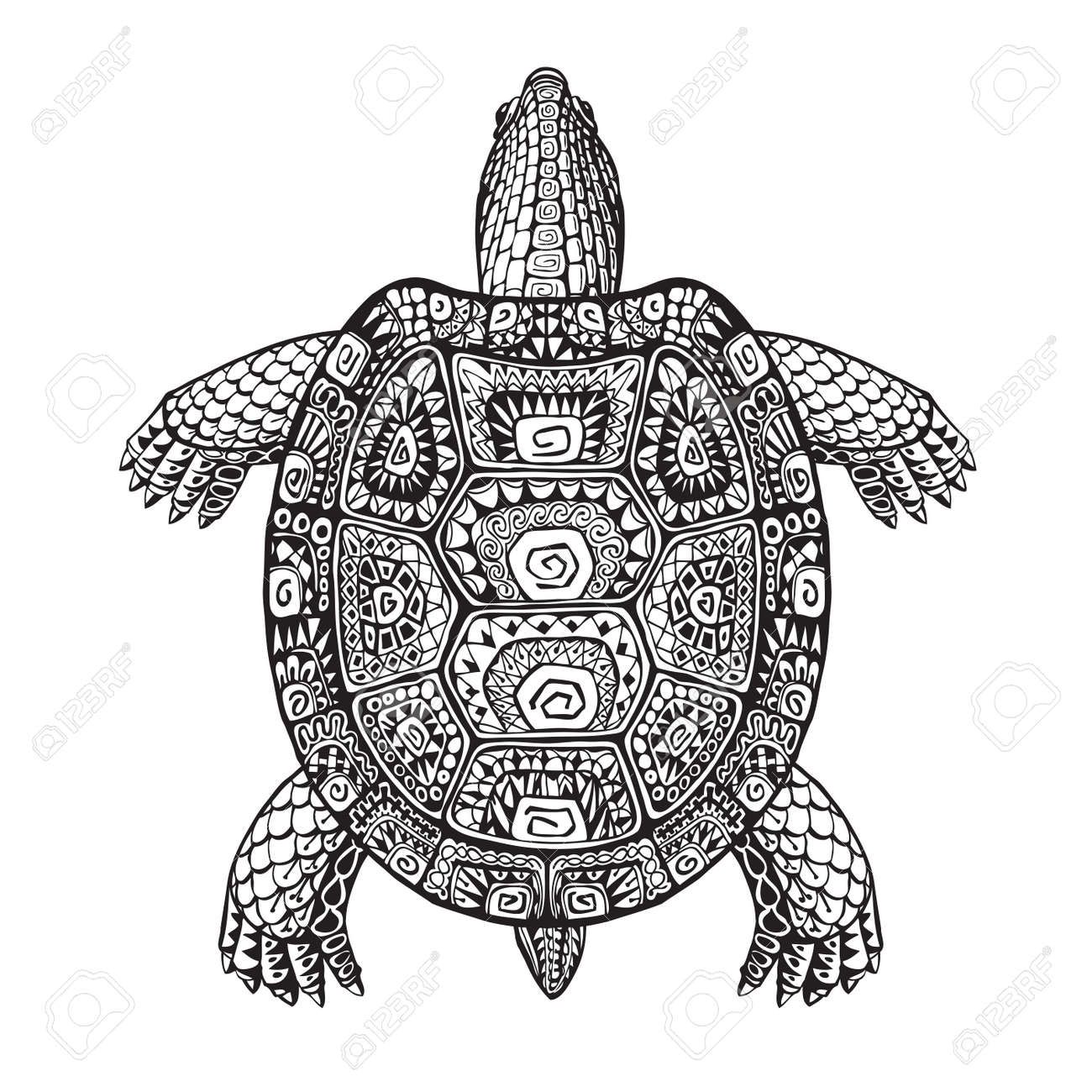 Turtle ethnic graphic style with decorative pattern. Vector illustration - 62978306
