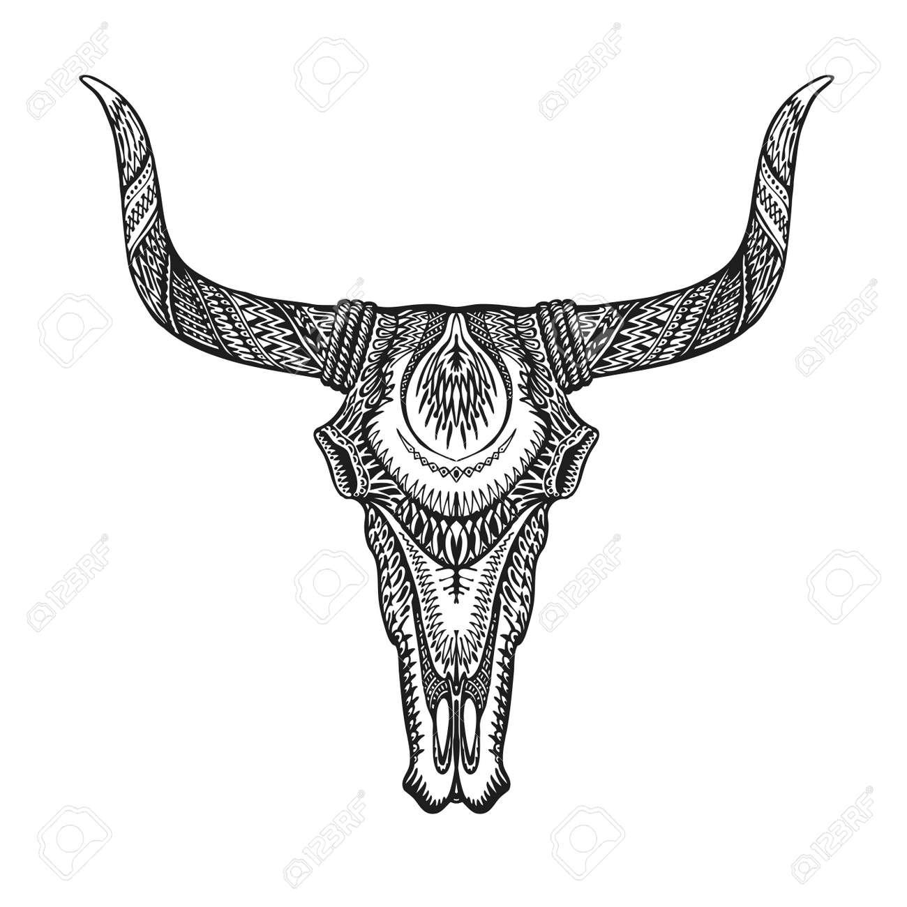 Decorative Bull Skull In Tattoo Tribal Style Hand Drawn Vector