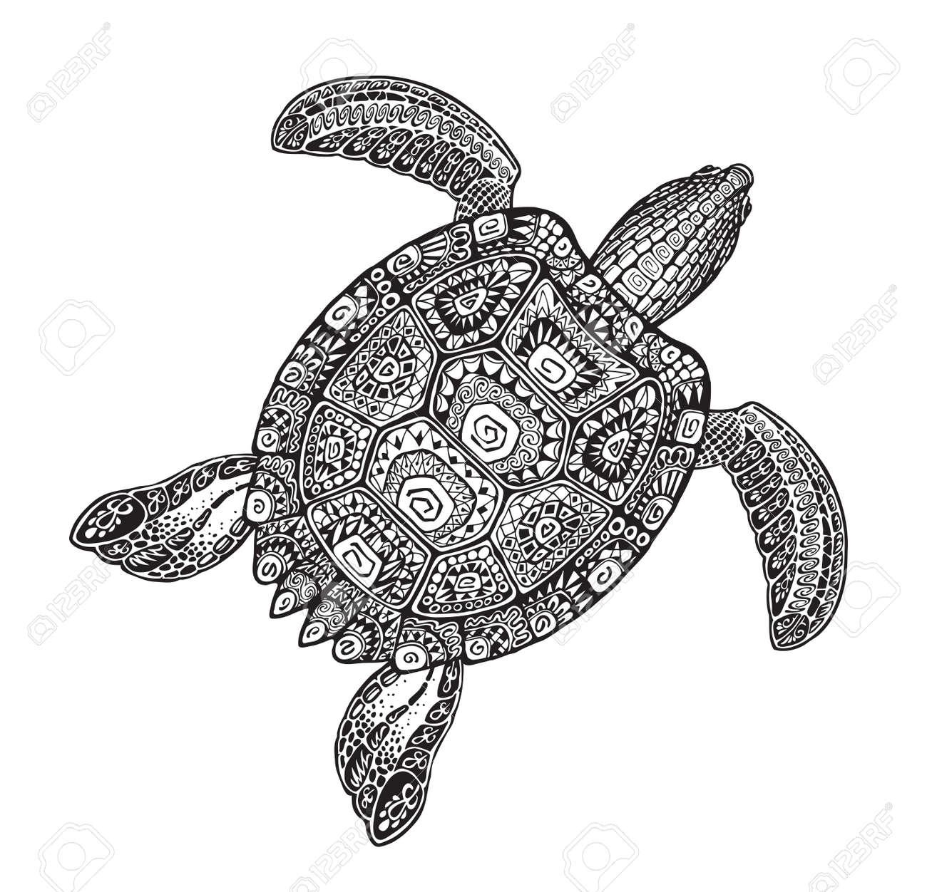 Sierlijke Schildpad In Tattoo Stijl Geïsoleerd Vector Illustratie