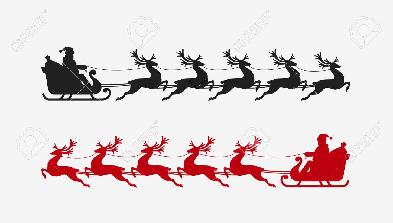 Santa Sleigh Reindeer Silhouette Christmas Symbol Vector Illustration Stock