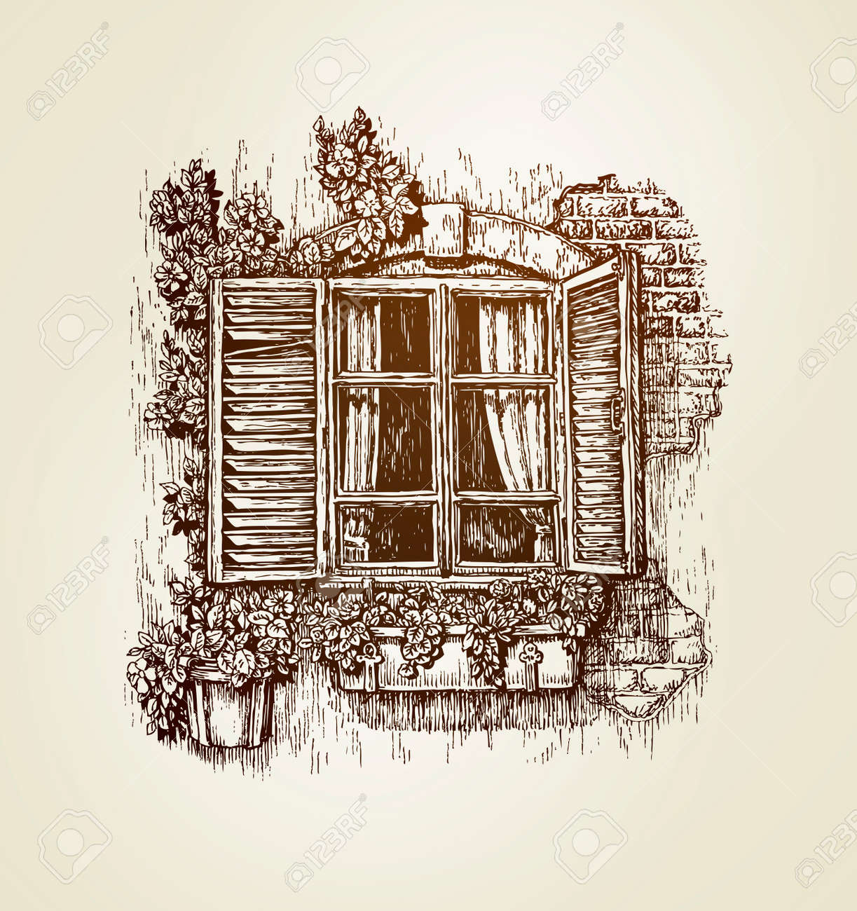 vintage window drawing. vintage window sketch. vector illustration. italian landscape stock - 64365098 drawing e
