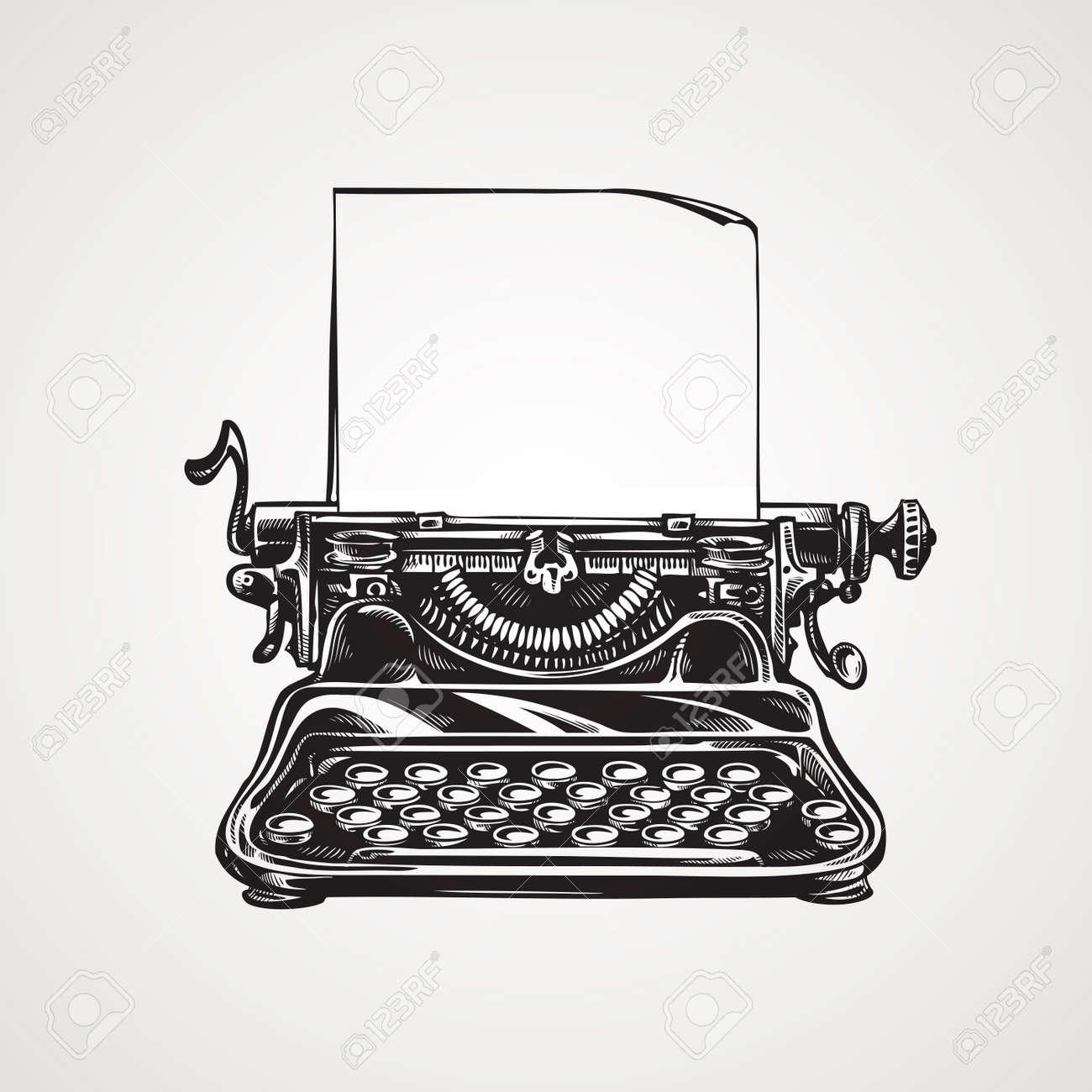 Vintage mechanical typewriter. retro sketch vector illustration - 67209088