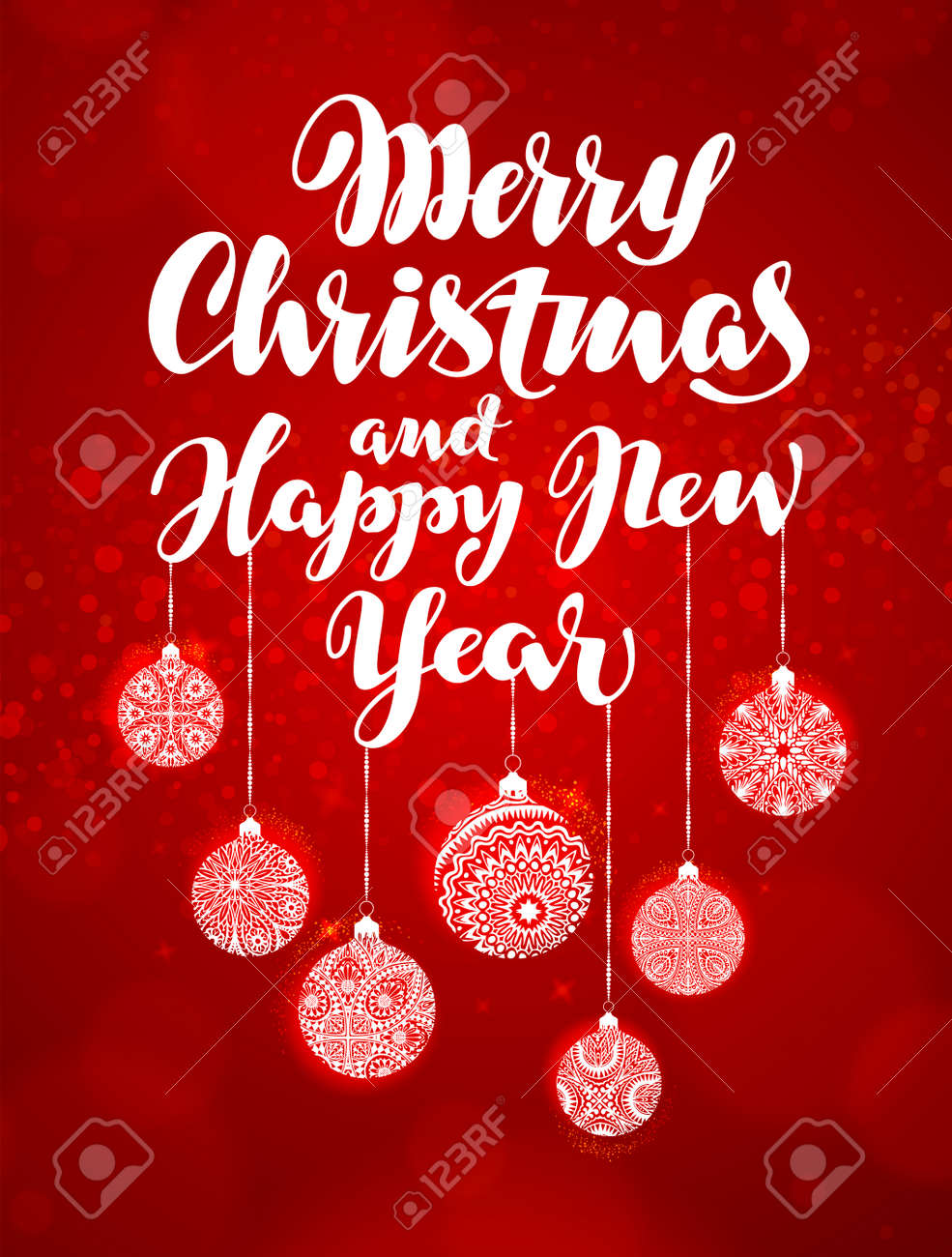 merry christmas and happy new year banner beautiful greeting lettering decorated with decorative xmas
