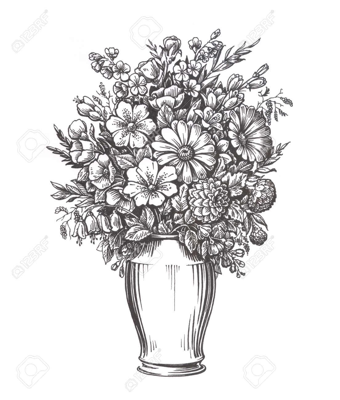 Lieblings Weinlese-Vase Mit Blumen. Hand Gezeichnete Skizze Illustration &BY_04