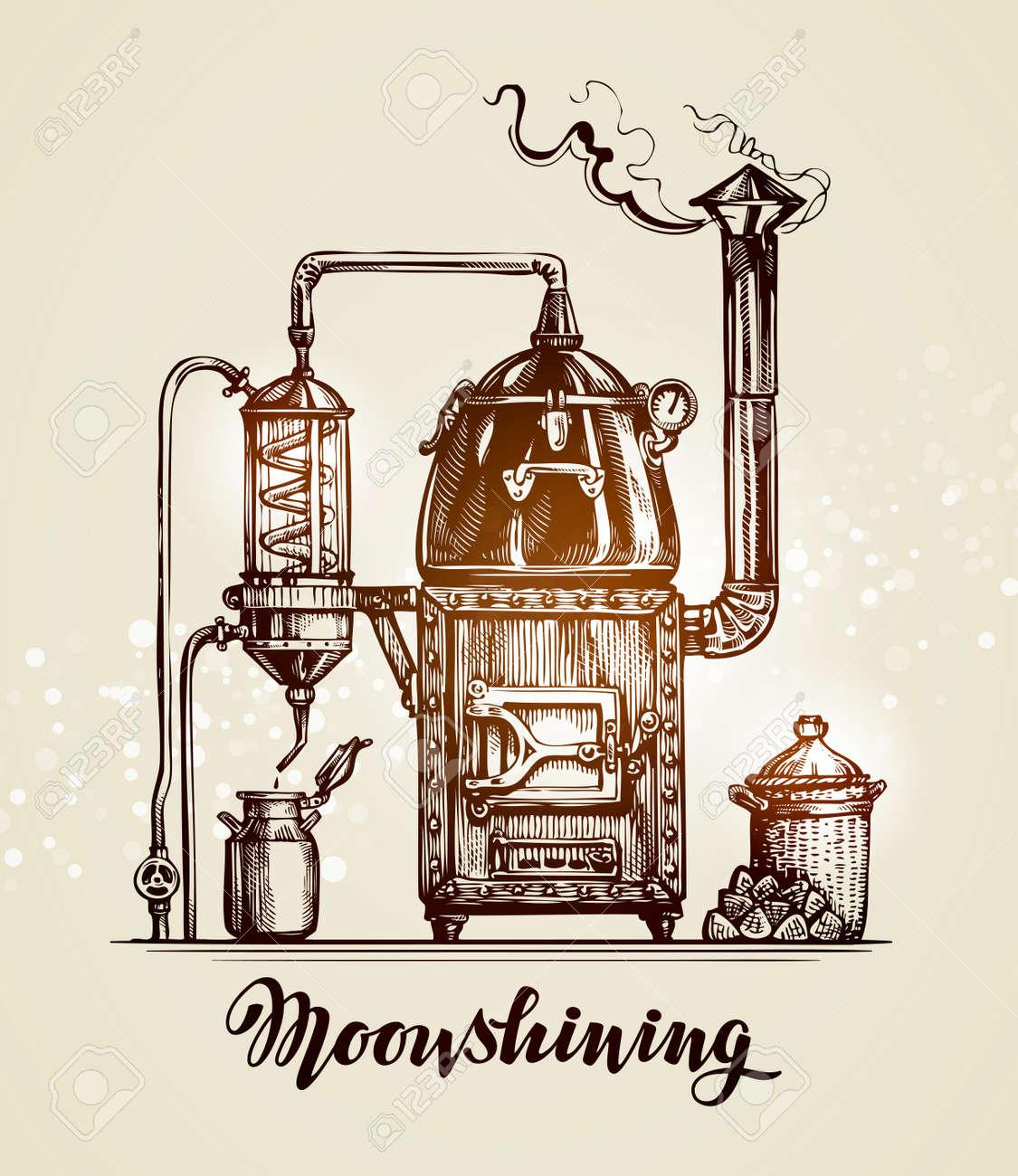 Moonshining. Vintage hooch art sketch. Vector illustration - 67209173