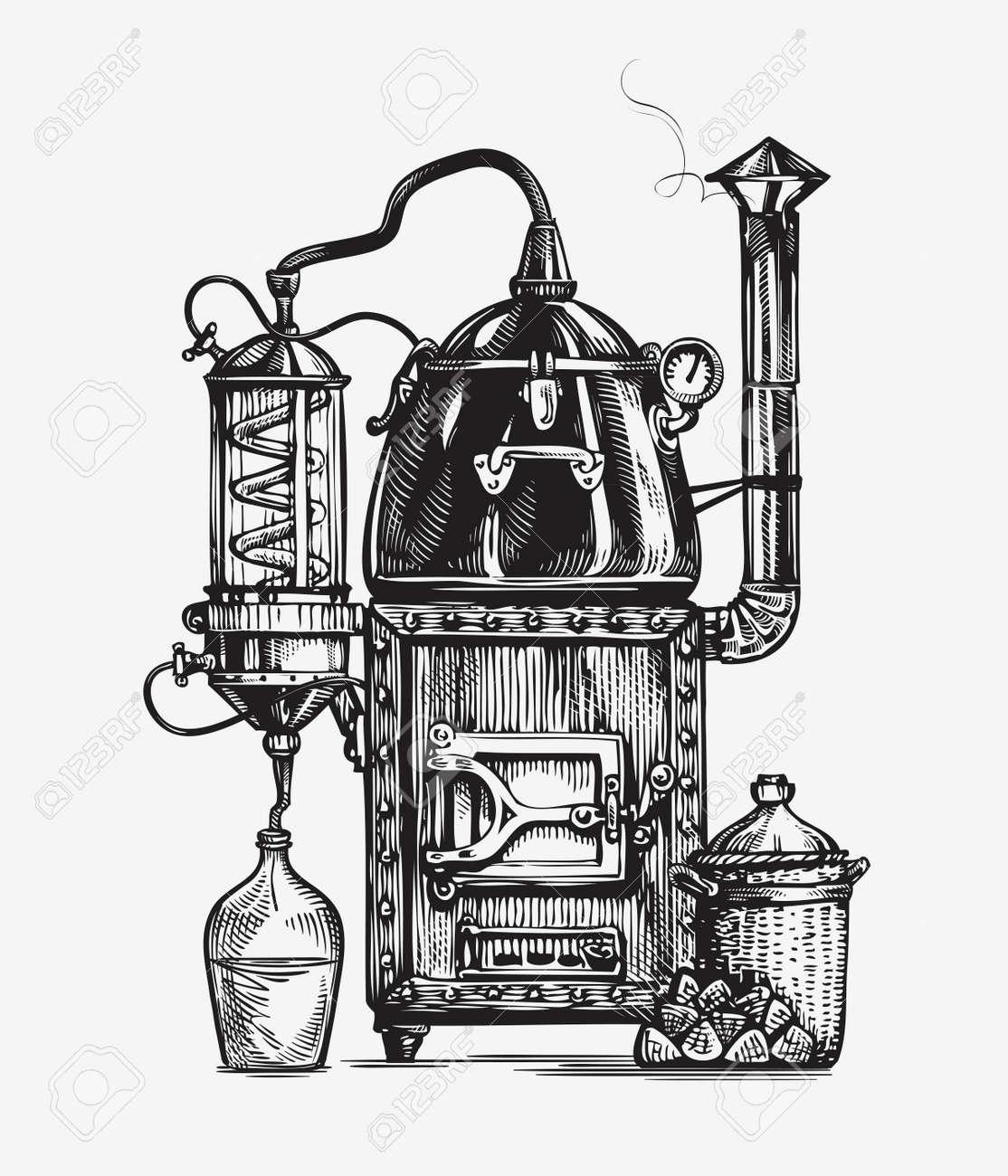 Distillation apparatus sketch. Retro hooch vector illustration - 67209174