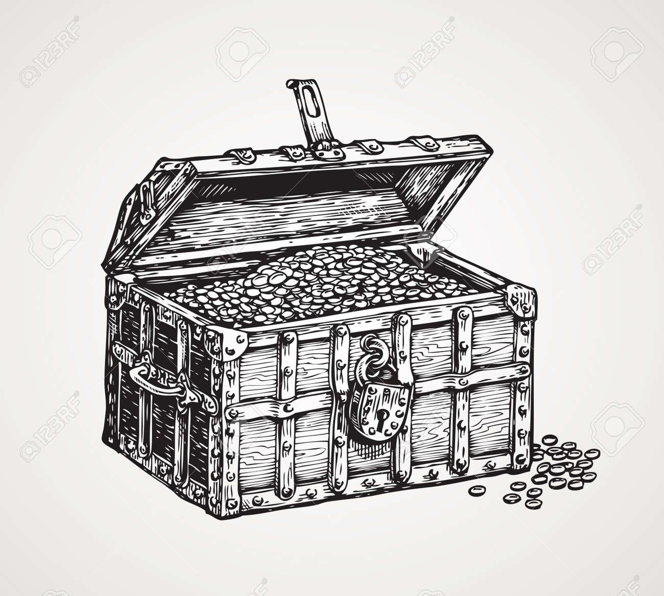 wooden chest with treasures. vintage sketch vector illustration - 67209189