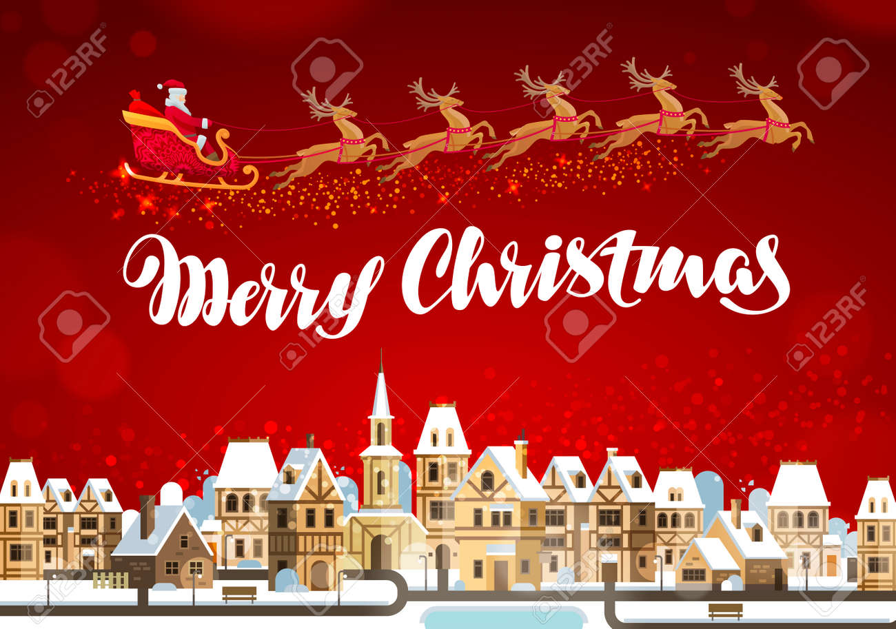 Merry Christmas. Winter landscape with Santa Claus on sleigh - 66395334