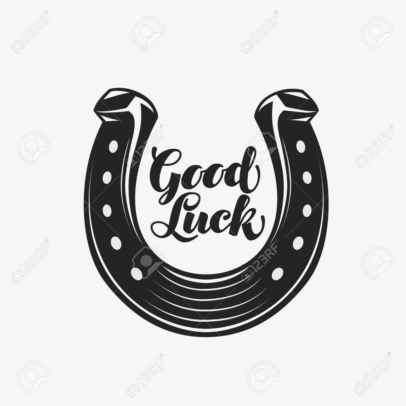 Good luck. Horseshoe with inscription. Vector symbol icon - 67209206