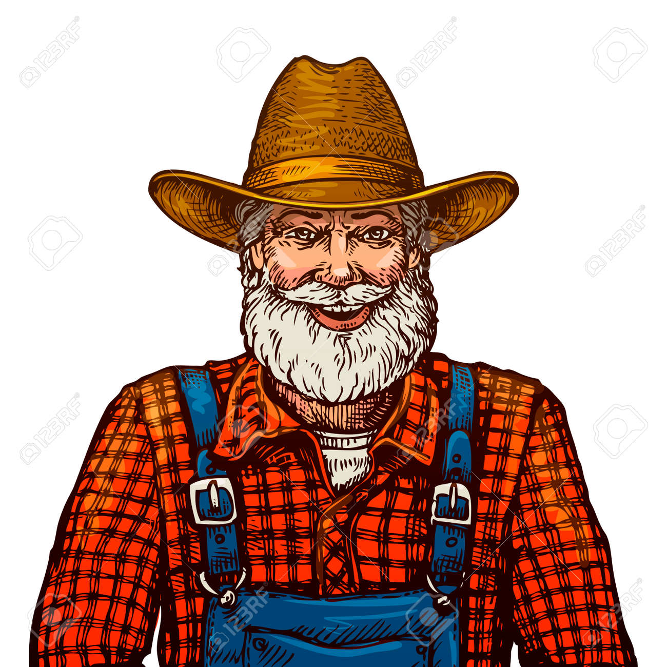 Happy smiling bearded farmer in hat isolated on white background - 67209296