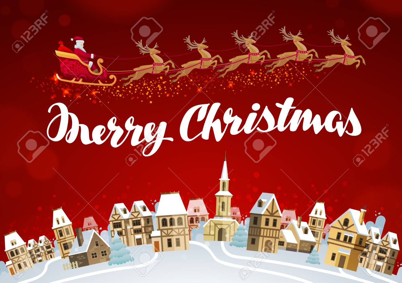 Merry Christmas And Happy New Year. Xmas Greeting Card Vector ...