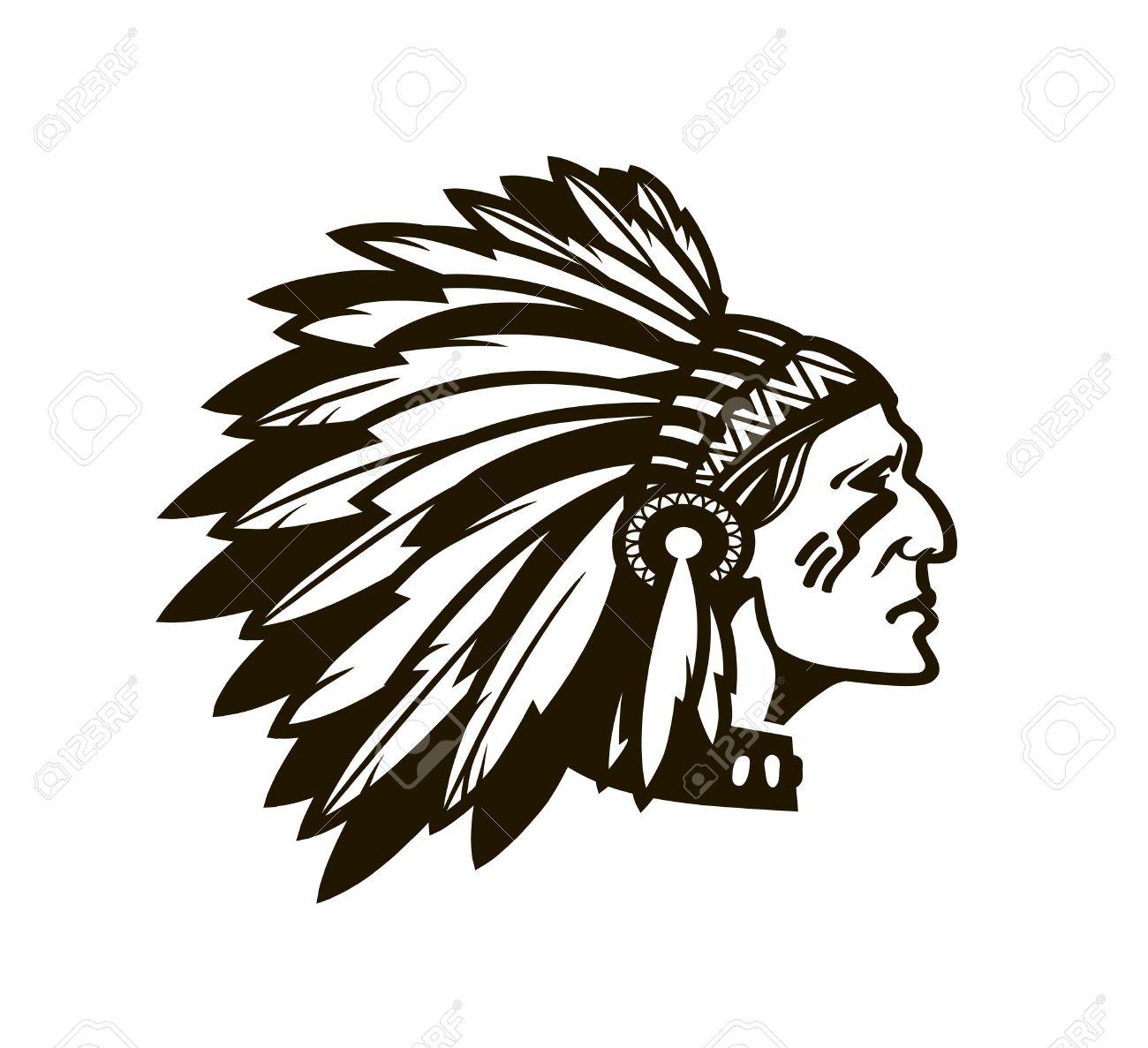 Jefe Indio Americano. Logotipo O Icono. Ilustración Del Vector ...
