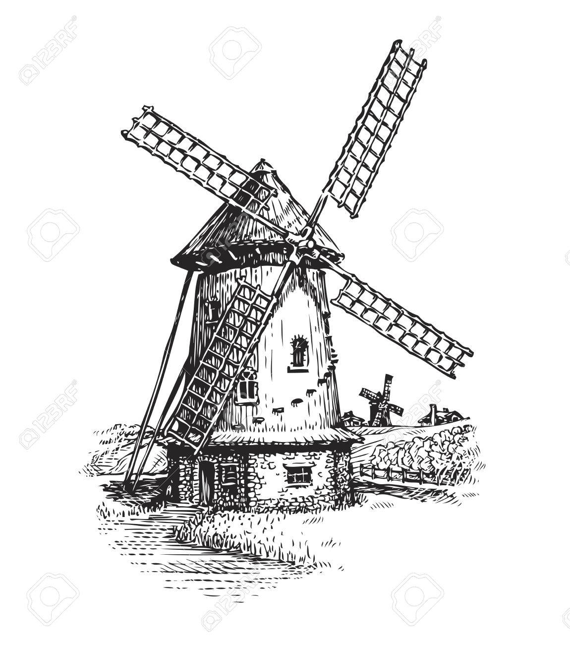 Windmill. Hand drawn vintage sketch vector illustration isolated on white background - 67209305