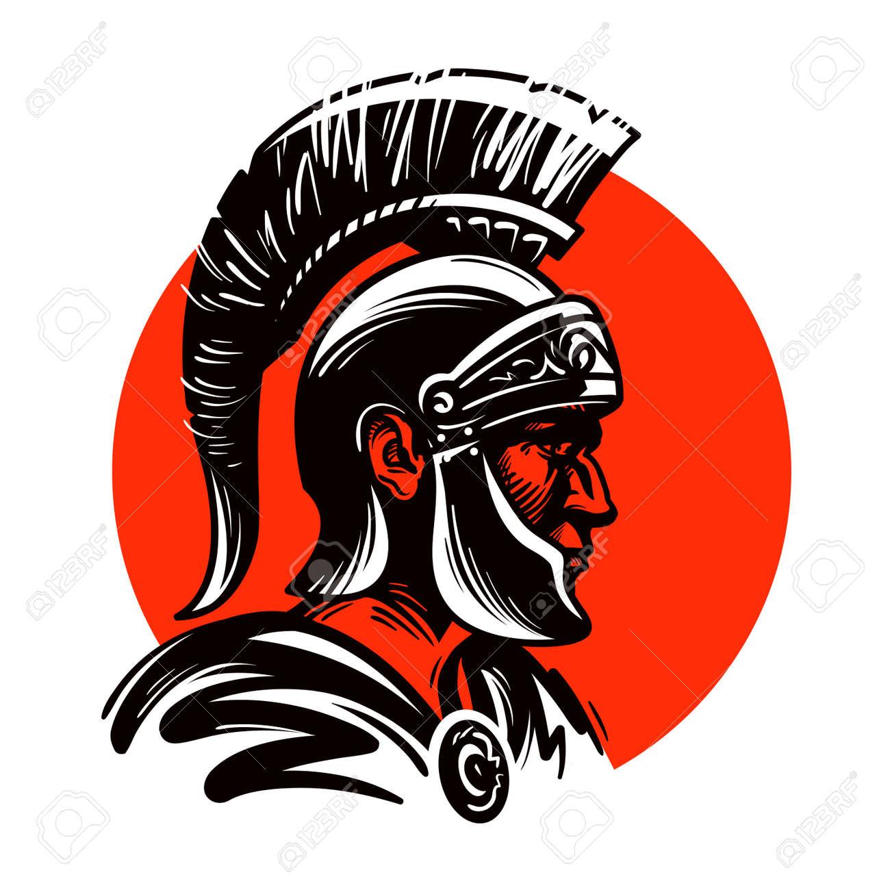 roman soldier or gladiator inside circle vector illustration