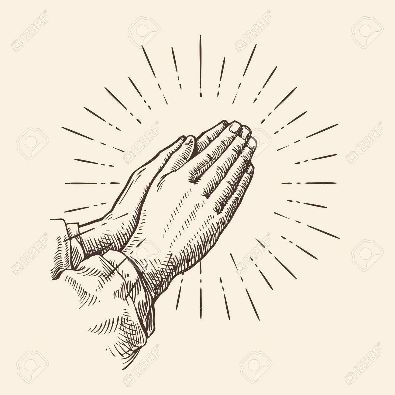 Praying hands. Hand drawn sketch vector illustration - 67209434
